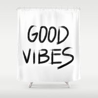 good vibes Shower Curtains featuring Good Vibes by I Love Decor