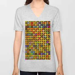 colorful geometric circle pattern abstract in orange yellow blue red Unisex V-Neck