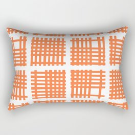 Mid Century Modern Abstract Squares Orange Rectangular Pillow