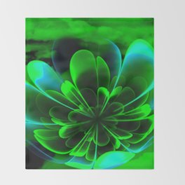 Abstract Green Flower Throw Blanket