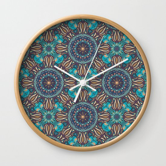 Wall Clock Floral Design : Colorful abstract ethnic floral mandala pattern design