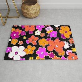 Puffy Fun Multi Color Graphic Design Flower Art by Megan Duncanson MADART Rug