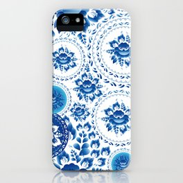 Silhouette of a beautiful horse's head with blue flowers iPhone Case