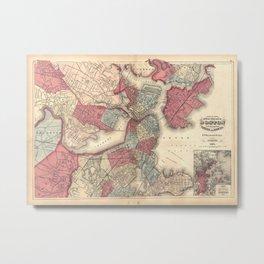 Vintage Map of Boston Massachusetts (1871) Metal Print