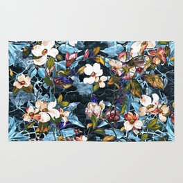 Dogwood and MagnoliaI (Turquoise)Pattern Rug