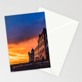 Dramatic sunset at Mont Saint Michel Stationery Cards