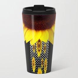 FANCIFUL YELLOW SUNFLOWERS BLACK ART Travel Mug