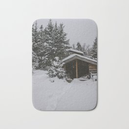 Winter at Lonesome Lake Hut Bath Mat