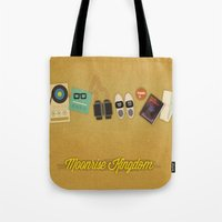 moonrise kingdom Tote Bags featuring Moonrise Kingdom by Lindsey Pudlewski