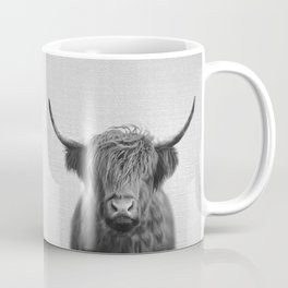 Highland Cow - Black & White Coffee Mug