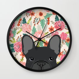 French Bulldog florals dog portrait pet art dog breeds custom frenchie gifts Wall Clock