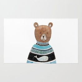 Bear in knitted sweater Rug