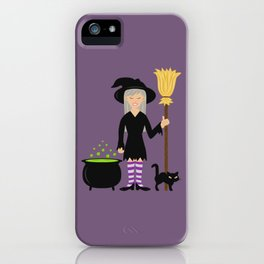 Cute Witch Girl And A Black Cat Halloween Design iPhone Case