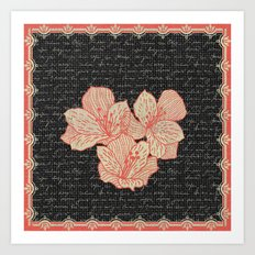 Burlap & Flowers 2 Art Print
