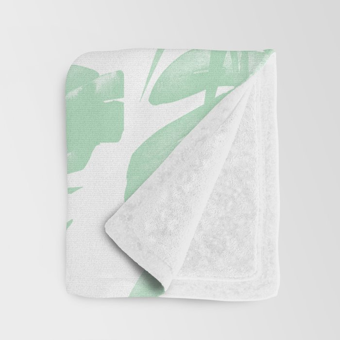 Light Green Tropical Palm Leaves Print Throw Blanket