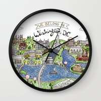 dc Wall Clocks featuring Washington DC by Brooke Weeber