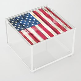 Vintage American Flag On Old Barn Wood Acrylic Box