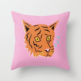 Sad Tiger Throw Pillow