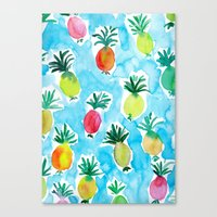 pineapples Canvas Prints featuring Pineapples by Barbarian // Barbra Ignatiev