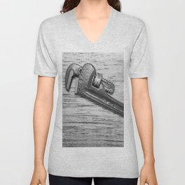 Pipe Wrench - BW Unisex V-Neck