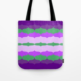 Super Groovy Purple Green 70s Pattern Tote Bag