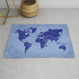 Vintage and distressed blue world map Rug
