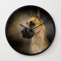great dane Wall Clocks featuring Dashing Great Dane by Jai Johnson