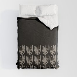 Mesh Wildflower Cuff Pattern 2 in Black and Almond Cream Comforters