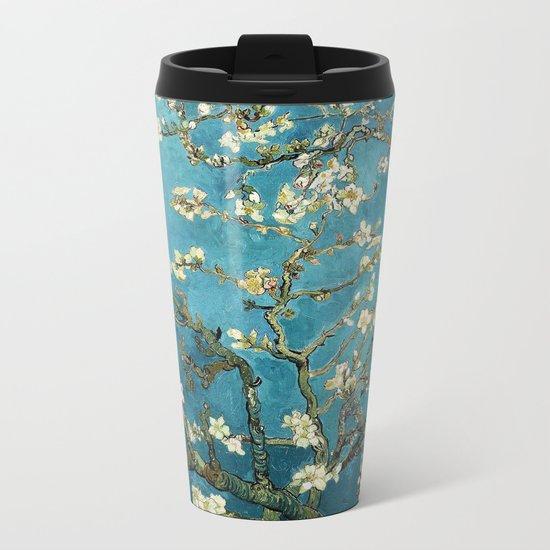 Blossoming Almond Trees, Vincent van Gogh. Famous vintage fine art. Metal Travel Mug
