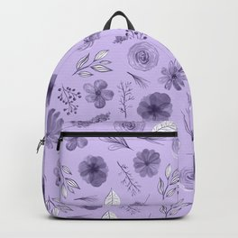 Hand painted violet white watercolor modern floral pattern Backpack