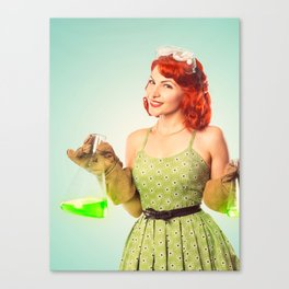 Distractingly Sexy Scientist Pinup Canvas Print