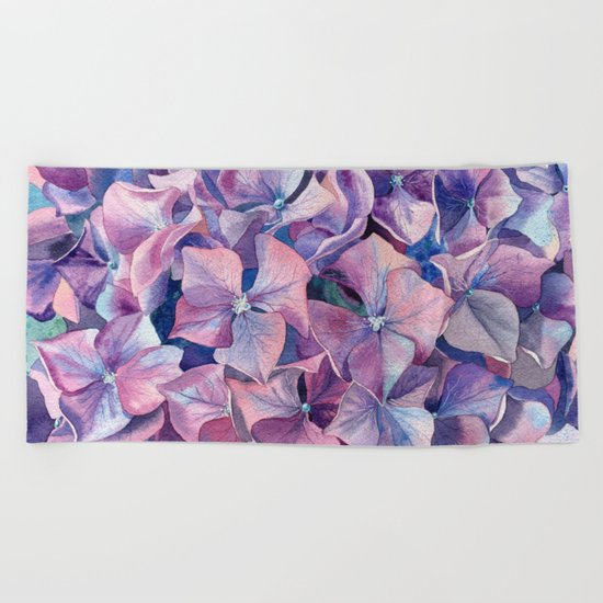 Violet hydrangea Beach Towel