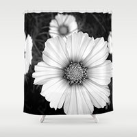 cosmos Shower Curtains featuring cosmos by nonono