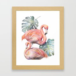 Two Big Pink Flamingos and Monstera Plant Tropical Leaves Framed Art Print