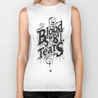 blood Biker Tanks featuring Blood, Sweat, & Tears by 83 Drops