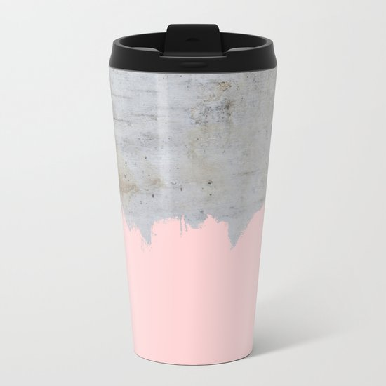 Paint with pink on concrete Metal Travel Mug