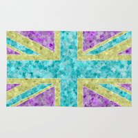 union jack Area & Throw Rugs featuring Floral Union Jack by Alice Gosling