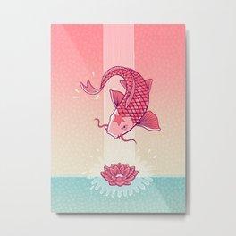 Perseverance // Koi & Lotus Metal Print