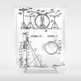 Drum Set Patent - Drummer Art - Black And White Shower Curtain