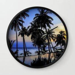 Palm Tree Beach Ocean Pool Sunset Wall Clock