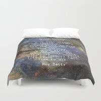 blade runner Duvet Covers featuring BLADE RUNNER: ...All those ... moments will be lost in time, like tears...in rain...... by Guido Montañés