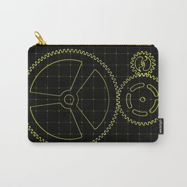 Set of yellow gears and cogs on virtual screen Carry-All Pouch