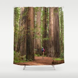 Humboldt Redwoods, Avenue of the Giants Photography, Redwood Forest Art, Person in Photo Art, Enchanted Magical Woodland Shower Curtain