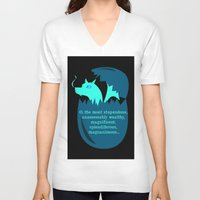 smaug V-neck T-shirts featuring O Smaug by Fairly Artful Artworks