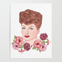 Floral Lucille Ball Poster