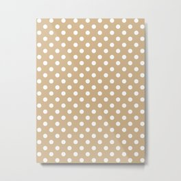 Small Polka Dots - White on Tan Brown Metal Print