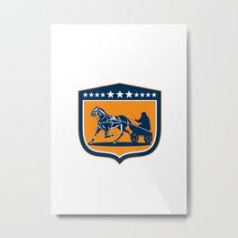 Horse and Jockey Harness Racing Shield Retro Metal Print