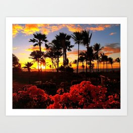 Maui Sunset with Red Flowers Art Print