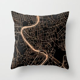 Black and gold Rome map Throw Pillow