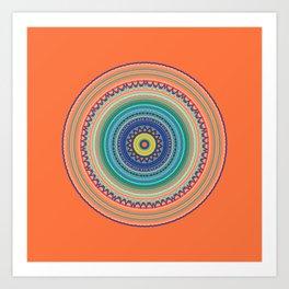 Bright Orange Mandala Art Print